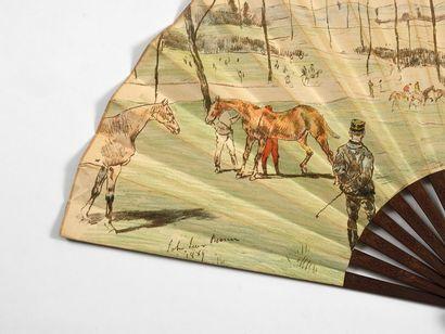 Réunion hippique (John Levis Brown 1829 - 1890)  Eventail, la feuille en papier...