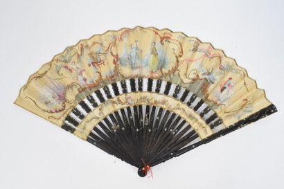 Hommage à Watteau  Eventail de type cabriolet, les feuilles en tissu peint à la...