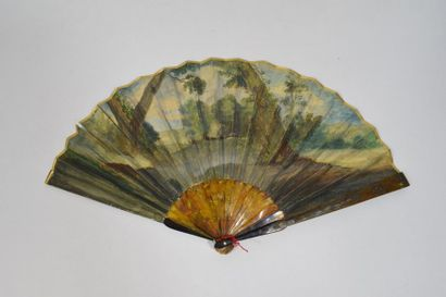 L'enlèvement d'Hélène  Eventail, la feuille en papier peint à la gouache de la célèbre...