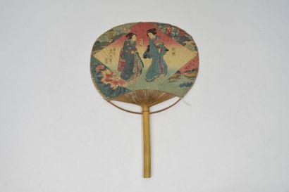 Les geishas  Ecran en papier imprimé, sur...