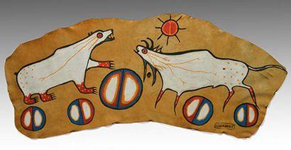 MORRISSEAU, Norval H. RCA (1932-2007) Animaux Acrylique sur cuir d'orignal Signée...
