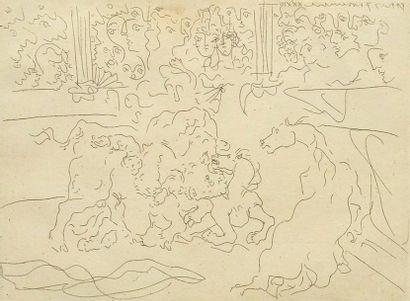 PICASSO, Pablo (1881-1983) Taureau et chevaux...