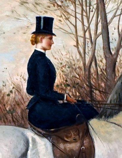 BIRD, John Alexander H. (1846-1936) Promenade à cheval Huile sur toile Signée et...
