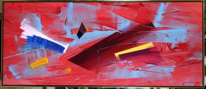 """RISTVEDT-HANDEREK, Milly (1942-) """"Red Finish"""" Oil on canvas Signed, titled and dated..."""