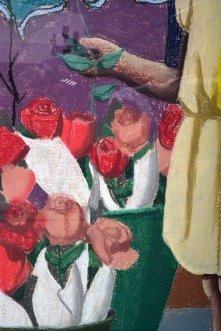 """SCOTT, Louise (1936-) """"Pour qui les fleurs"""" Pastel Titrée et datée au dos sur étiquette:..."""