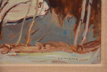 """JACKSON, Alexander Young (1882-1974) """"Spring Flood Duhamel, Québec"""" Huile sur panneau..."""