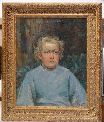 """SUZOR-COTÉ, Marc Aurèle de Foy (1869-1937) """"Portrait de jeune garçon"""" Huile sur..."""