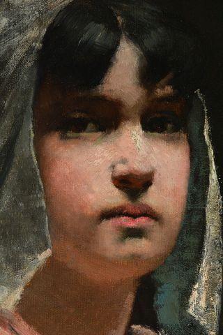 """N'est pas venu - PEEL, Paul (1860-1892) """"Frances with the Apple"""" Huile sur toile..."""