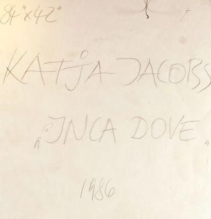 """JACOBS, Katja (1939-) """"Inca Dove"""" Huile et collage sur toile Signée, titrée et datée..."""