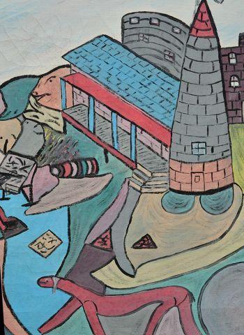 """VILLENEUVE, Arthur (1910-1990) """"Picasso et son château"""" Huile sur toile Signée et..."""