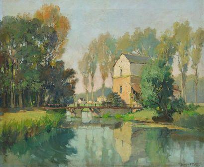 ROBIN, Georges (1895-1981) Small bridge Oil...