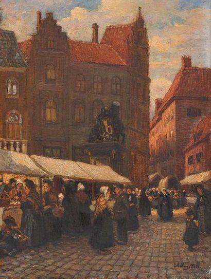 ENGSTFELD, Albert (1876-1956) Market scene...