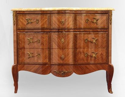 Louis XV style marquetry chest of drawers,...