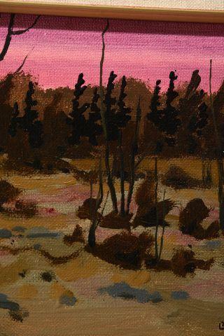 "BOBAK, Bruno Joseph (1923-2012) ""Fall with red sky"" Huile sur carton toile Signée..."