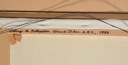 """PICHER, Claude (1927-1998) """"Village de Matapedia"""" Huile sur toile Signée en bas..."""