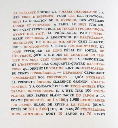 HÉMON, Louis. [GAGNON, Clarence. Illustrateur] Maria Chapdelaine Illustrations de...