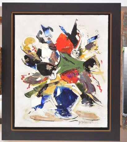 """GIUNTA, Joseph (1911-2001) """"Fleurs"""" Huile sur carton toile Signée et datée en bas..."""
