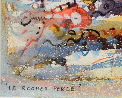"""BELLEFLEUR, Léon (1910-2007) """"Rocher à Percé"""" Gouache Titrée en bas à gauche Datée..."""