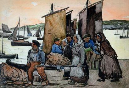 FORTIN, Marc-Aurèle (1888-1970) Pêche à Honfleur,...