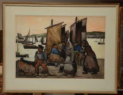 FORTIN, Marc-Aurèle (1888-1970) Pêche à Honfleur, vers 1934 Aquarelle No du catalogue...
