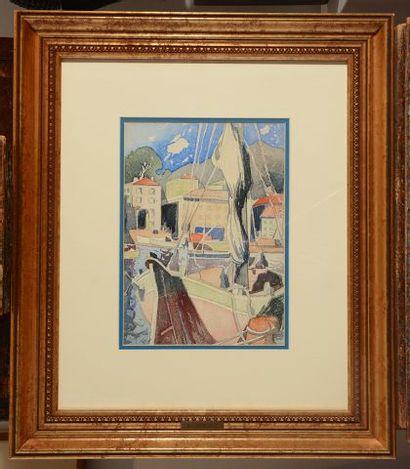 FORTIN, Marc-Aurèle (1888-1970) Voilier dans le port Aquarelle Signée en bas à gauche:...