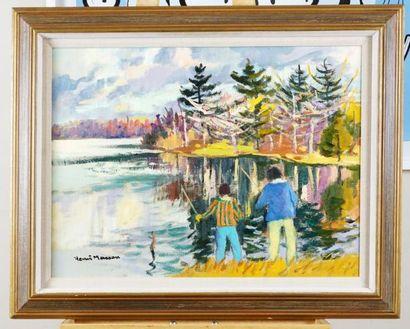 """MASSON, Henri Léopold (1907-1996) """"Spring fishing, Lac Beauchamp, Québec"""" Huile..."""