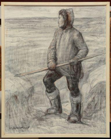 """SHERRIFF-SCOTT, Adam (1887-1980) """"Eskimo hunter"""" Huile sur toile Signée en bas à..."""
