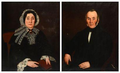 ÉCOLE CANADIENNE XIXe Paire de portraits...