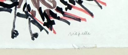RIOPELLE, Jean-Paul (1923-2002) Oies Technique mixte sur papier Signée en bas à...