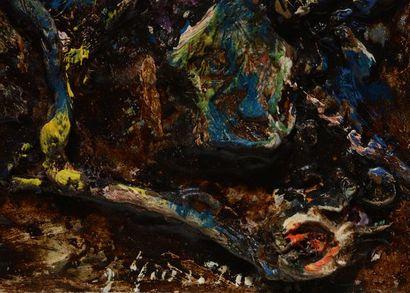 "GIUNTA, Joseph (1911-2011) ""Joallerie"" Huile sur toile maroufée sur isorel Signée..."