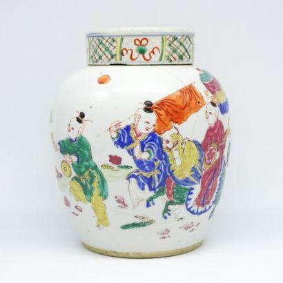 Pot à gingembre en porcelaine, à décor de...