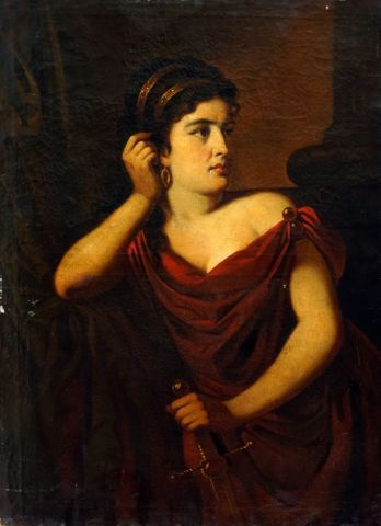 ÉCOLE EUROPÉENNE XVIIIe  Jeune femme au drapé...