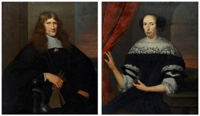 ÉCOLE EUROPÉENNE XVIIIe  Noble couple  Huile...