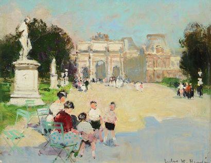 HERVÉ, Jules René (1887-1981)  Au parc, Paris...