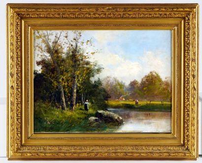MORISOT-PONTILLON, Edma (1839-1921)  À la pêche  Huile sur toile  Signée en bas...
