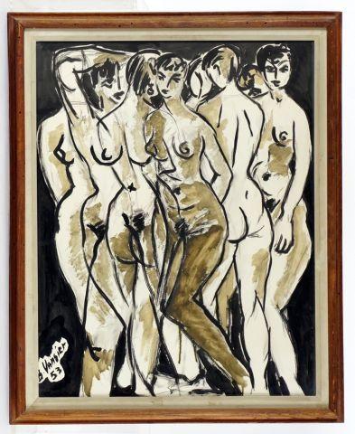 """VANSIER, Boris (1928-)  """"Reflexions dans un miroir""""  Lavis et encre  Signée et datée..."""