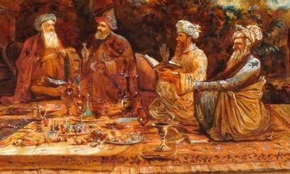 ÉCOLE ORIENTALISTE XIXe  Sages à l'heure du thé  Aquarelle et gouache sur carton...