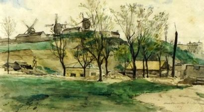 LESSORE, Jules (d 1892)  Montmartre  Aquarelle...