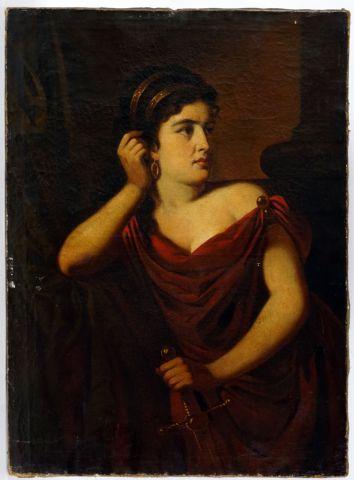 ÉCOLE EUROPÉENNE XVIIIe  Jeune femme au drapé  Huile sur toile    Provenance:  Collection...