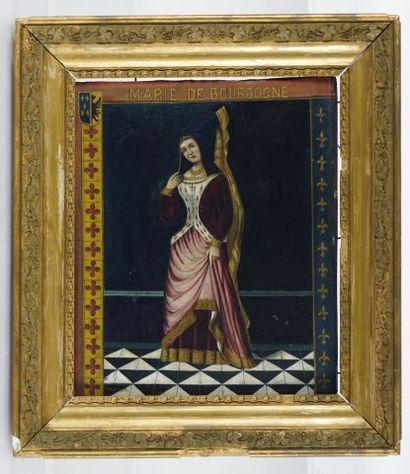 """ÉCOLE EUROPÉENNE XIXe  """"Marie de Bourgogne""""  Huile sur panneau de bois  Titrée en..."""