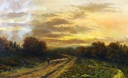 GREY, J.O. (actif XIXe)  Pastorale  Huile sur toile  Signée en bas à gauche: J.O....