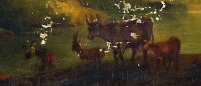ÉCOLE EUROPÉENNE XIXe  Vaches et ruines  Huile sur toile  Sur une plaque de métal...