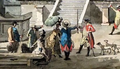 DESPREZ, Louis Jean (1746-1804)  Temple à Pompéi  Dessin et aquarelle    Provenance:...