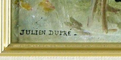 DUPRÉ, Julien (1851-1910)  Fermière aux champs  Huile sur panneau  Signée en bas...