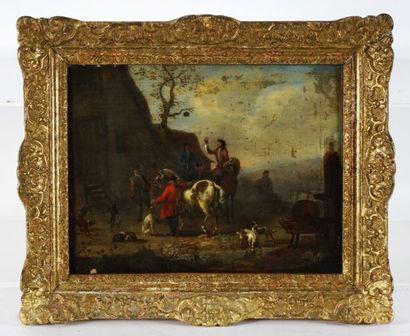 ÉCOLE EUROPÉENNE XIXe  Cavaliers à l'arrêt  Huile sur toile    Provenance:  Collection...