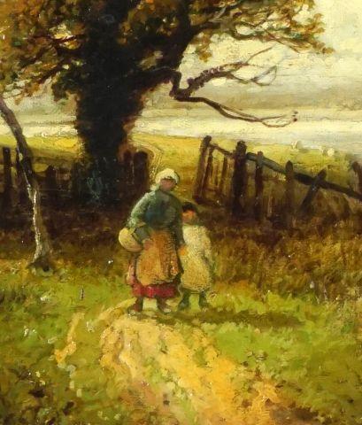WIDGERY, William (1822-1893)  Promenade au bord de l'eau  Huile sur toile  Signée...