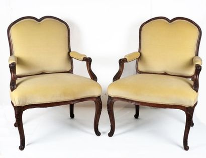 Paire de fauteuils en bois naturel, dossier...
