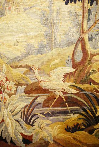 Paire de tapisseries à décor de frondaison...
