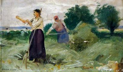 DUPRÉ, Julien (1851-1910)  Fermière aux champs...