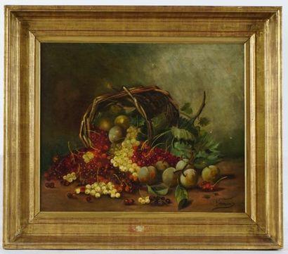 CORMAIS (actif XIXe)  Nature morte  Huile sur toile  Signée en bas à droite: Cormais(?)...